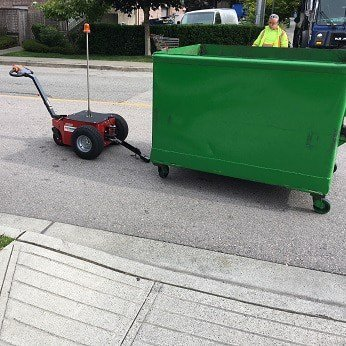 Verhagen V-Move XL being serviced by a waste service provider | dumpster mover | waste bin tug | electric tugger