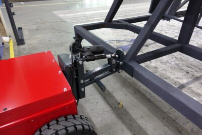 Xerowaste.ca | V-Move XL+ industrial tugger with a auto reach cart hitch attachment