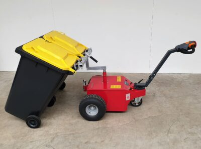 Recycling and organics tote carrier for V-Move L & XL dumpster mover tug | xerowaste.ca waste bin tugs, dumspter tug, dumpster mover, waste bin tug, dumpster puller