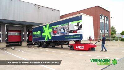 Semi-remorque mobile semi-remorque V-move 40t. Aussi un remorqueur de tracteur de terminal alimenté par batterie | Xerowaste.ca