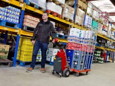 Xerowaste.ca | V-Move S electric cart tugger moving warehouse cart | Cart mover | Cart tug | industrial puller