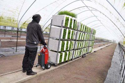 Xerowaste.ca | Remolcador de carro eléctrico V-Move S carga de plantas en movimiento | Mover carro | Remolcador de carro | extractor industrial
