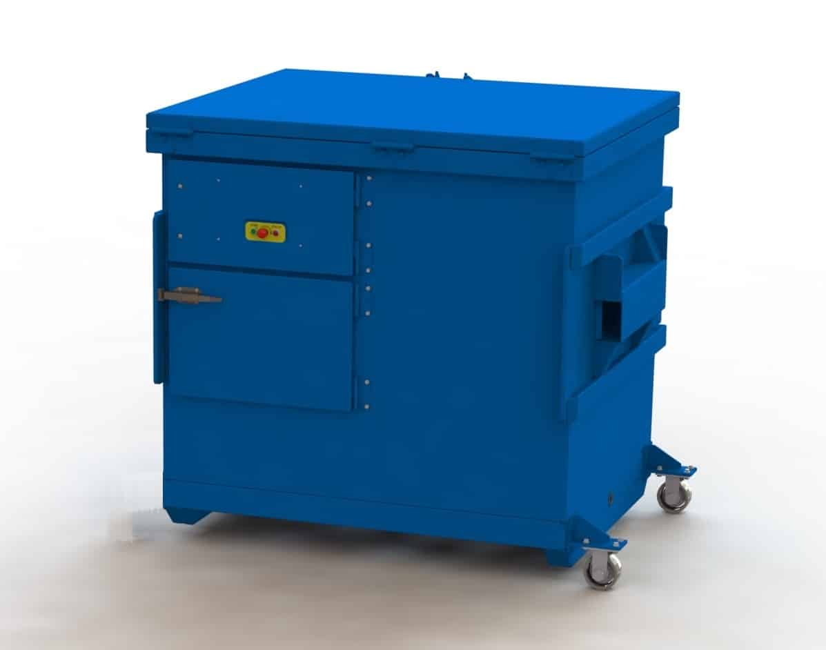 Example of a 6,000 lb mobile self-contained 6-yard compactor that could be moved up a driveway with a V-Move dumpster tug.