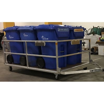 Xerowaste.ca | waste tote trailer or bin tote trailer for use with V-move walk-along dumpster mover tug. We are the only ones in North American with a bin tote trailer! Designed and built by Xerowaste.