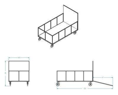 Remolque de caja Xerowaste 6 para cajas de hasta 96 galones. | transportador de contenedores, remolcador de contenedores de basura, contenedores de reciclaje, contenedores de desechos, transportadores de contenedores, remolcadores de contenedores, transportadores de contenedores, remolcadores de contenedores de residuos