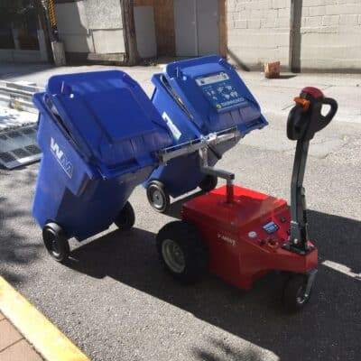 Xerowaste | V-move XL or XL+ tote carrier attachment. Carries up to 2 totes on slopes up to 25% grade. Carries 32 gallon, 64 gallon or 95 gallon totes - organic, garbage, or recycling totes.